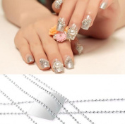 CHENGYIDA 11 Yards Nail Art Tip Metal Glitter Striping Tape Ball Beads Chain Line Decorations 3D nail tools Silver/1mm