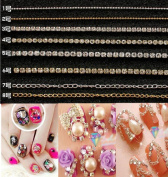CHENGYIDA 8 Stlye Alloy Beads Chain Nail Art Tip Metal Glitter Striping Chain Line Rhinestones Decorations 3D Nail Tools 20cm