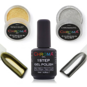 Chroma Dust Mirror Effect Silver & Gold Kit | with 2 applicators and No Wipe Top Coat