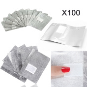 Aluminium Foil Nail Wraps, 100 Pcs Disposable Remover Cleaner For Nail Art Soak Off Acrylic UV Gel Removing Manicure Tool Aluminium Paper with Sponge