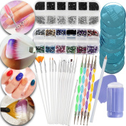 Nail Art Manicure Designs Set Including Rhinestones Crystals Decorations In Different Colours, Dotters Dotting Tools, Brushes, Stamping Plates Templates, Stamper, Scraper and Picker Pencil