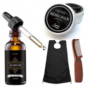 Cosprof Beard Balm Moustache Cream Beard Oil Grooming Kit - Conditioner Beard Balm Healthy Moisturising Moustache Wax Folding Comb & Beard Catcher