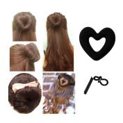 Lalang Heart Hair Bun Maker Magic Hair Styler Set, with Hairband and Clips