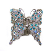 rougecaramel – Crab Metal and Crystal Butterfly Hair Clip with Blue Wings That Move