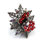 rougecaramel – – Crab Metal and Crystal Flower Hair Clip Hair Accessories Red
