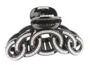 Sparkly Crystal Diamante Hair Claw Clamp Chain Links Black
