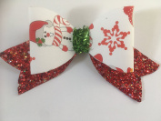 Snowman christmas glitter hair bow novelty fancy dress up costume hair accessories stocking fillers for girls presents gifts