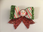 Christmas snowman candy cane glitter hair bow clip stocking fillers for girls presents gifts hair accessories fancy dress up costume