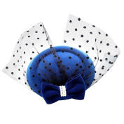 CHUANGLI Hat Party with Veil Hair Clip Net Yarn Bow Hat Hair Clip for Girls