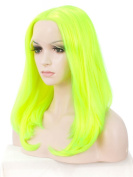 Imstyle Neon Yellow Lace Front Wig Middle Part Bob Wig Synthetic Lace Hair Halloween Looks Drag Queen Wigs 43cm