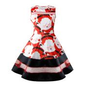 Christmas Women Dresses ,Womens Santa Snowman Christmas Dress Sleeveless Xmas Swing Retro Dresses