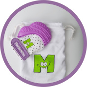 Mouthie Mitt Baby Teething Glove Purple Unisex - USA Award Winning Baby Mitten -Soothing Pain Relief- Age 3-12 Months Protects Babys Hands from Salvia & Chewing - Secure Adjustable Strap. Great for Travel Washable Glove & Travel Bag included. Free UK D ..