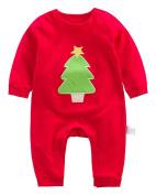 Kidsform Infant Baby Christmas Romper Long Sleeve Santa Claus Print Bodysuits Pyjamas Outfit tree 18-24M