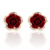 Red Rose Flower Silk Solid Stud Earring Wedding Jewellery Party Wear Gift For Women Girl
