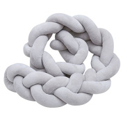Asdomo Long Knot Pillow Cushion Fashion Photography Prop Knitted Braid Pillows Soft Sofa Car Plush Throw Pillow for Nursery Decor Baby Toddlers Kids Bedroom Crib Toy Christmas Gift,Grey 1M