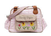 Pink Lining Blooming Gorgeous Baby Changing Nappy Bag - Cream Bows on Pink