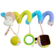 APig Baby Travel Activity Toy with Mirror Bells, Toddlers Musical Spiral Plush Gift Toy for Bed Pushchairs Car Seat