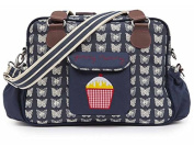 Pink Lining Yummy Mummy Baby Changing Nappy Bag - Cream Butterflies on Navy