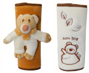 A Pair of Baby Plush Strap Cover,Car Seats & Strollers Strap Covers,Bear Beige Set