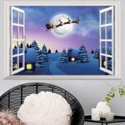 Christmas Xmas Wall Sticker,LEvifun Merry Christmas 3D Window Santa Reindeer Cabin Removable Vinyl Art Wall Window Door Home Decals Decor Decoration Sticker,72*48cm