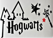 HARRY POTTER HOGWARTS CUT VINYL WALL ART STICKER / DECAL With red and Black Stars UKSELLINGSUPPLIERS