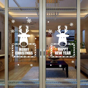 Christmas Xmas Wall Sticker,LEvifun Reindeer Elk Removable Vinyl Art Wall Sticker Window Door Home Decals Decor Decoration,58cm*38cm
