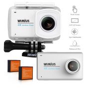 Action Camera, WIMIUS 4K Sports Camera 6.2cm LCD Touch Screen Underwater Cam 1080P 16MP 170 Ultra Wide-Angle Lens Helmet Camera with Accessories Kit White L3