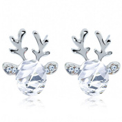 SetMei Crystal Gemstone Earrings Luxury Three Dimensional Christmas Reindeer Earing