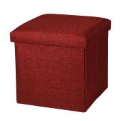 Sunraise Leather Folding Storage Ottoman Cube Footrest Seat, 30 x 30 x 30 cm