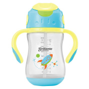 Decdeal Brillante Baby Drinking Bottle Straw Sippy Cup Transition Learner Cup With Handles BPA Free 300ml