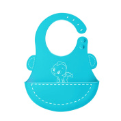 OFUN Waterproof Silicone Baby Bib, Super Soft Infant Bibs with Wide Food Crumb Catcher Pocket, Easy Roll-Up Wipes Clean & Quick Drying, Comfortable for Your Toddler Babys Boys Girls, Blue