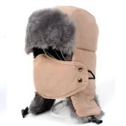Unisex Winter Trapper Trooper Hat Faux Fur Outdoor Hunting Hat Ushanka Ear Flap Chin Strap with Windproof Facemask,Khaki