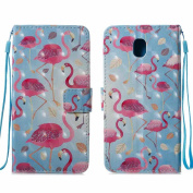 Galaxy J5 2017 Case, COOSTOREEU Cute Funny Colourful Painting 3D Pattern PU Leather Wallet Case for Samsung Galaxy J5 2017 (EU Model) ,Flamingo #2