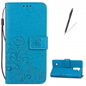 KaseHom LG K10 Embossed Leather Case + [Free Touch Stylus Pen] [Four Leaf Clover] Patterned Flip Stand Feature with Card/Cash Slots Folio Wallet Cover Holster for LG K10 - Blue