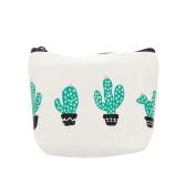 Pu Ran Green Cactus Print Canvas Coin Purse Zipper Pouch Wallet - Four Cactus