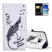 Galaxy S6 Wallet Case White, Aeeque® Flip Stand Feature Magnetic Clasp Premium PU Leather Protection with Credit Card / Cash Slots Cover and Fashion Black Feather Pattern for Samsung Galaxy S6