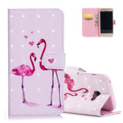 Galaxy A320F Wallet Cover Pink, Aeeque® Cute Animal Red Flamingo Pattern and 3D PU Leather Flip Stand Phone Case for Samsung Galaxy A3 2017 12cm with Magnetic Closure / Credit Card Slots