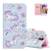 Galaxy S5 Wallet Case Sky Blue, Aeeque® 3D Ultra Thin PU Leather Bookstyle Cute Animla Unicorn Design Flip Stand Function with Magnetic Closure / Card Slots Cover for Samsung Galaxy S5/S5 Neo