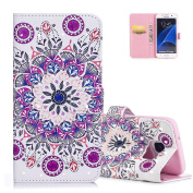 Aeeque® Beautiful Colourful Mandala Flowers Wallet Case for Samsung Galaxy S7 Edge 14cm , 3D Premium PU Leather Bookstyle Kickstand Function with Card Slots Soft Silicone Shockproof Protection Holster
