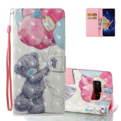 Galaxy S8 Wallet Cover Folio, Aeeque 3D Lovely Grey Bear Balloons Pattern and Ultra Thin PU Leather Flip Stand Magnetic Closure Phone Case Protection for Samsung Galaxy S8 2017 15cm with Card Slots