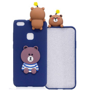 Aeeque® 3D Candy Colour Design Silicone Case for Huawei P10 Lite 2017 13cm - Ultra Thin Soft Crystal Rubber Flexible Back Bumper [Shockproof] Protection Cover and Blue Brown Bear Pattern