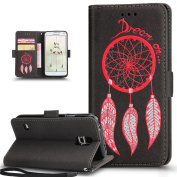 Galaxy S5 Case,Galaxy S5 Neo Case,ikasus 3D Relief Embossing Glitter Feather Dream Catcher Campanula Pattern Premium PU Leather Fold Wallet Pouch Case Wallet Flip Cover Bookstyle Magnetic Closure with Card Slots & Stand Function Protective Case Cover f ..