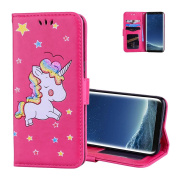 Galaxy S8 Wallet Case Hot Pink, Aeeque Slim Fit Bling PU Leather Flip Stand Function Magnetic Clasp with Card Slots Holster and Cute Animal Unicorn Pattern for Samsung Galaxy S8 2017 15cm