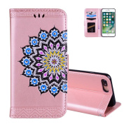 iPhone 8PLUS Case Fold, Aeeque Ultra Thin PU Leather Bookstyle Flip Stand Feature Magnetic Clasp Wallet with Card Slots Cover Protection for iPhone 7 PLUS/8 PLUS 14cm - Rose Gold Mandala