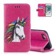 Aeeque Cute Hot Pink Unicorn Wallet Case for iPhone 7 PLUS/8 PLUS 14cm , Premium PU Leather Bookstyle Kickstand Function with Card Slots Soft Silicone Shockproof Protection Holster