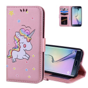 Galaxy S7 Edge Wallet Case Rose Gold, Aeeque Slim Fit PU Leather Flip Stand Function Magnetic Clasp with Card Slots Holster and Cute Glitter Animal Unicorn Pattern for Samsung Galaxy S7 Edge 14cm