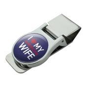 I Love My American Wife Satin Chrome Plated Metal Money Clip