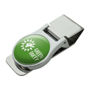 Green Party Flower Globe Satin Chrome Plated Metal Money Clip