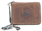 Genuine Leather Wallet Metal Zip-around with Metal Chain and with Zodiac Sign Scorpio