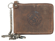Genuine Leather Wallet Metal Zip-around with Metal Chain and with Zodiac Sign Sagittarius